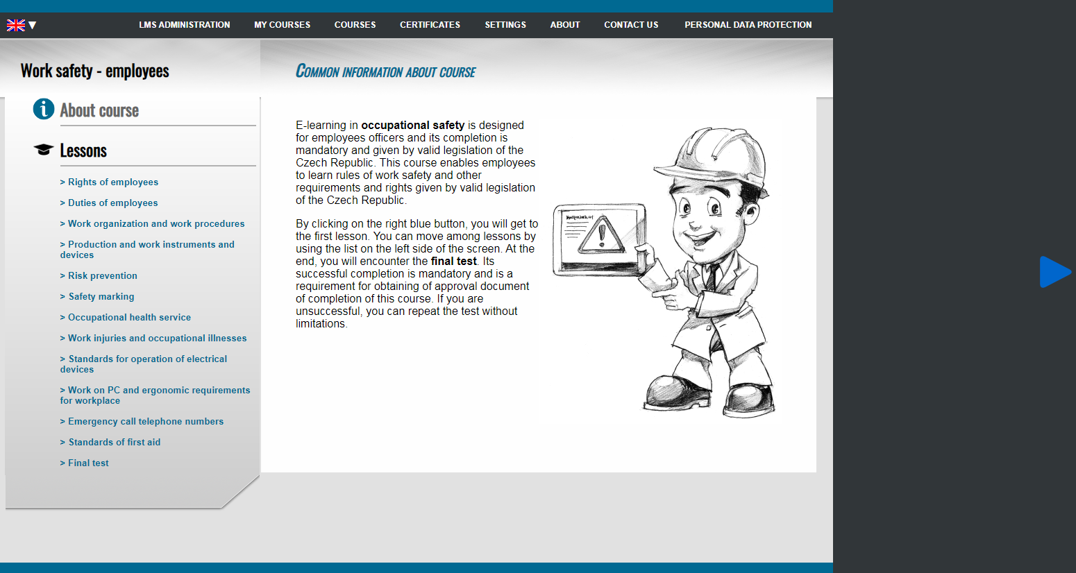 E-learning course Work safety - employees